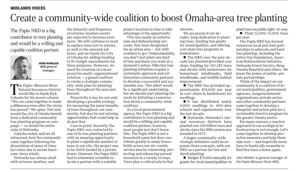 Create a community-wide coalition to boost Omaha-area tree planting